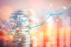 Χρηματοδότηση, κύριες τραπεζικές εργασίες και έννοια επένδυσης, διπλό exporsur Στοκ εικόνες με δικαίωμα ελεύθερης χρήσης