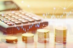 Χρηματοδότηση, κύριες τραπεζικές εργασίες και έννοια επένδυσης, διπλό exporsur Στοκ εικόνα με δικαίωμα ελεύθερης χρήσης