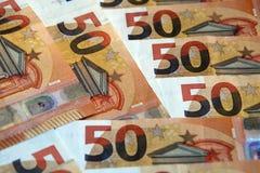Χρηματοδότηση, σημειώσεις 50 ευρώ Στοκ φωτογραφία με δικαίωμα ελεύθερης χρήσης