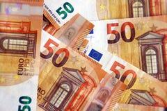 Χρηματοδότηση, σημειώσεις 50 ευρώ Στοκ Εικόνες