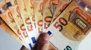 Χρηματοδότηση, σημειώσεις 50 ευρώ στοκ εικόνα