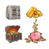 Χρηματοδότηση, σύνολο χρημάτων Ασφαλείς, χρυσοί φραγμοί τραπεζών μετάλλων, παλαιό στήθος θησαυρών με τα χρυσά νομίσματα, piggy τρ διανυσματική απεικόνιση