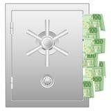 Χρηματοκιβώτιο τράπεζας με εκατό ευρο- τραπεζογραμμάτια Στοκ Εικόνες