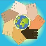 χρηματοκιβώτιο 7 χεριών η γη ελεύθερη απεικόνιση δικαιώματος