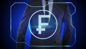 χρηματοδότηση έννοιας, νόμισμα, ψηφιακή τεχνολογία ελβετικό CHF φράγκων νομισμάτων απεικόνιση αποθεμάτων