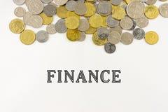 Χρηματοδότηση λέξης με τα νομίσματα της Μαλαισίας Στοκ Φωτογραφία