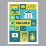 Χρηματοδότηση - αφίσα μωσαϊκών με τα εικονίδια στο επίπεδο ύφος σχεδίου τα εικονογράμματα Διαδικτύου εικονιδίων που τίθενται το δ Στοκ εικόνα με δικαίωμα ελεύθερης χρήσης