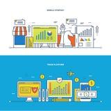 Χρηματοδότηση, εμπορικών, κινητών στρατηγική εμπορικών πλατφορμών, και ανάλυση Στοκ εικόνες με δικαίωμα ελεύθερης χρήσης