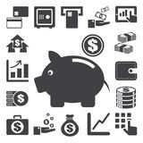Χρηματοδότηση και σύνολο εικονιδίων χρημάτων. Στοκ εικόνες με δικαίωμα ελεύθερης χρήσης