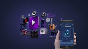 Χρησιμοποίηση της κινητής εφαρμογής, έξυπνο τηλέφωνο, κινητή μουσική ακούσματος, φορέας μουσικής ψυχαγωγίας τρισδιάστατη ζωτικότη ελεύθερη απεικόνιση δικαιώματος