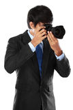 χρησιμοποίηση φωτογράφων φωτογραφικών μηχανών dslr Στοκ Φωτογραφία