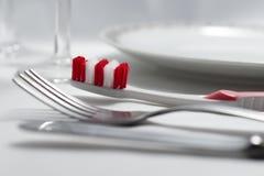 Χρησιμοποιήστε την οδοντόβουρτσα μετά από τα γεύματα Στοκ Φωτογραφία