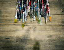 Χρησιμοποιημένα πινέλα Στοκ φωτογραφία με δικαίωμα ελεύθερης χρήσης