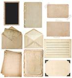 Χρησιμοποιημένα φύλλα εγγράφου καθορισμένα Οι εκλεκτής ποιότητας σελίδες βιβλίων, πλαίσια φωτογραφιών, τυλίγουν Στοκ Εικόνες