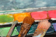χρησιμοποιημένα χρώμα watercolors β&omicro στοκ φωτογραφία με δικαίωμα ελεύθερης χρήσης