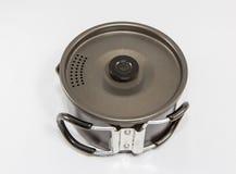 Χρησιμοποιημένες προμήθειες στρατοπέδευσης - Cookware στοκ εικόνα
