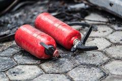 Χρησιμοποιημένος πυροσβεστήρας αυτοκινήτων Στοκ εικόνα με δικαίωμα ελεύθερης χρήσης