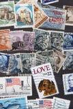 Χρησιμοποιημένο υπόβαθρο συλλογής γραμματοσήμων Στοκ Φωτογραφία