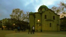 Χριστιανική εκκλησία Ortodoxal τη νύχτα - timelapse απόθεμα βίντεο