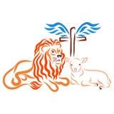 Χριστιανική σωτηρία, λιοντάρι, αρνί και φτερωτός σταυρός διανυσματική απεικόνιση