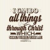 Χριστιανική τυπωμένη ύλη Μπορώ να κάνω όλα τα πράγματα μέσω Χριστού που strengtheneth εγώ ελεύθερη απεικόνιση δικαιώματος