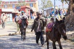 Χριστιανικοί προσκυνητές σε Lalibela στοκ φωτογραφία