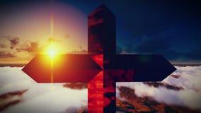 Χριστιανικός σταυρός σε ένα βουνό απόθεμα βίντεο