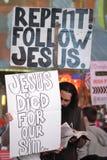 Χριστιανικό θρησκευτικό χρονικό τετράγωνο Protestors NYC Στοκ Εικόνα