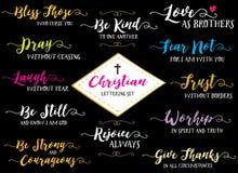 Χριστιανικό χέρι που γράφει το διανυσματικό σύνολο Στοκ Εικόνες
