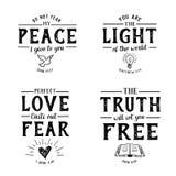 Χριστιανικό χέρι στίχων Βίβλων που γράφει τη συλλογή εμβλημάτων Scripture Στοκ φωτογραφία με δικαίωμα ελεύθερης χρήσης