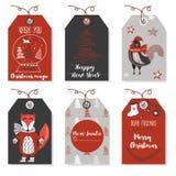 Χριστουγέννων έτος και κάρτες Χριστουγέννων ζώων νέο Μοντέρνες ετικέττες Στοκ φωτογραφίες με δικαίωμα ελεύθερης χρήσης