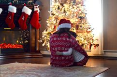 Χριστουγέννων δασικός knurled ευρύς χειμώνας ιχνών πρωινού χιονώδης Στοκ εικόνες με δικαίωμα ελεύθερης χρήσης