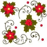 Χριστουγέννων ελαιόπρινου μούρων σύνολο που απομονώνεται διανυσματικό από το υπόβαθρο Στοκ εικόνες με δικαίωμα ελεύθερης χρήσης