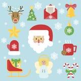 Χριστουγέννων επίπεδο ύφος ελαιόπρινου εικονιδίων διανυσματικό ελεύθερη απεικόνιση δικαιώματος