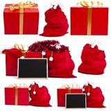 Χριστουγέννων ζωηρόχρωμο σύνολο εγγράφου συσκευασιών δώρων μεταλλικό Στοκ Εικόνες