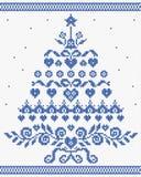 Χριστουγέννων διανυσματική άνευ ραφής σύσταση δέντρων διακοσμήσεων μπλε απεικόνιση αποθεμάτων
