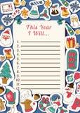 Χριστουγέννων 2019 καλής χρονιάς Santa επιστολών ευχετήριων καρτών ευτυχείς λιστών επιθυμητών στόχων εγγράφου διακοπές εμβλημάτων απεικόνιση αποθεμάτων