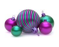 Χριστουγέννων λαμπρά πράσινα πορφυρά μπιχλιμπίδια διακοσμήσεων σφαιρών ζωηρόχρωμα διανυσματική απεικόνιση