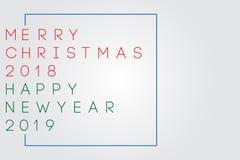Χριστουγέννων νέο έτους χαιρετισμών σχέδιο εγγραφής κειμένων καλλιγραφικό απεικόνιση αποθεμάτων