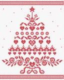 Χριστουγέννων ουκρανική διανυσματική άνευ ραφής σύσταση δέντρων διακοσμήσεων κόκκινη ελεύθερη απεικόνιση δικαιώματος