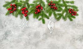 Χριστουγέννων συνόρων κόκκινη διακόσμηση διακοσμήσεων μούρων ασημένια Στοκ Εικόνα