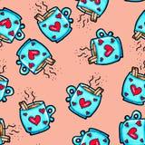 Χριστουγέννων σχέδιο που σύρεται άνευ ραφής με το χέρι Μπλε φλυτζάνι με τις καρδιές σε ένα ρόδινο υπόβαθρο Καφές, κακάο, κανέλα Ν απεικόνιση αποθεμάτων