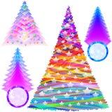 Χριστουγέννων του FIR δέντρων καθορισμένη περίληψη έτους χρώματος νέα ελεύθερη απεικόνιση δικαιώματος