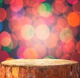 Χριστουγέννων υποβάθρου ελαφρύ ξύλινο κορμών σπρώξιμο κειμένων προγραμμάτων διαστημικό Στοκ εικόνες με δικαίωμα ελεύθερης χρήσης