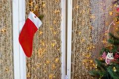 Χριστουγέννων δώρων διανυσματικό λευκό καλτσών απεικόνισης κόκκινο Στοκ Εικόνες