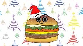 Χριστουγέννων cheeseburger και χρώματος χριστουγεννιάτικα δέντρα διανυσματική απεικόνιση