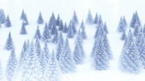 Χριστουγεννιάτικα δέντρα και χιόνι απόθεμα βίντεο