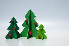 Χριστουγεννιάτικα δέντρα - μινιμαλιστική τρισδιάστατη σκηνή διανυσματική απεικόνιση