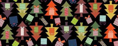 Χριστουγεννιάτικα δέντρα τη νύχτα διανυσματική απεικόνιση