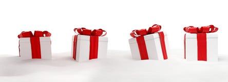 Χριστουγεννιάτικα δώρα στην τρισδιάστατος-απεικόνιση χιονιού ελεύθερη απεικόνιση δικαιώματος